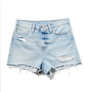UO High Rise Shorts Girlfriend Distressed Denim